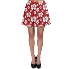 Red Pattern Hibiscus Flowers On Red Skater Skirt by CoolDesigns