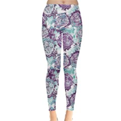 Purple Flowers Pattern Leggings by CoolDesigns