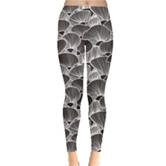 Black Simple Pattern Modern Stylish Texture Leggings by CoolDesigns