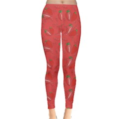 Red Pattern Strawberry And Splashes Leggings by CoolDesigns