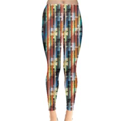 Colorful Pattern Striped Puzzles Shadow Leggings by CoolDesigns