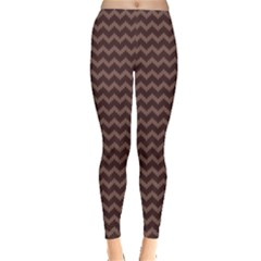 Dark Chevron Knitted Sweater Pattern Leggings by CoolDesigns