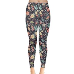 Colorful Cute Pattern Birds And Flowers Leggings by CoolDesigns