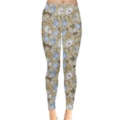 Gray Elegant Pattern Flowers Magnolia And Tulips Flora Leggings by CoolDesigns
