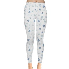 Blue Watercolor Hearts Pattern Leggings
