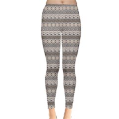 Gray Horizontal Abstract Geometric Ancient Greek Pattern Leggings