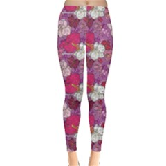 Pink Orchid Flowers Pattern Leggings