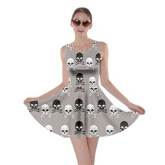 Gray Pattern Skulls Skater Dress