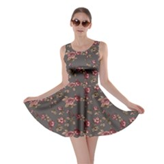 Gray Elegance Pattern Flowers Roses Skater Dress by CoolDesigns