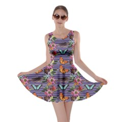 Colorful Pattern Butterflies And Tropical Flowers Skater Dress by CoolDesigns