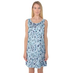 Blue Pattern With Music Notes Sleeveless Satin Nightdress by CoolDesigns