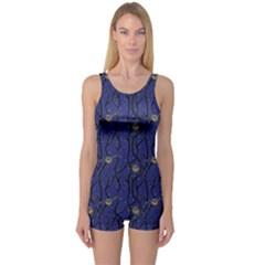 Blue Pattern Owls In The Night Forest Boyleg One Piece Swimsuit by CoolDesigns