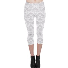 Blue Damask Pattern Element Capri Leggings by CoolDesigns