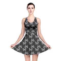 Black Pattern Butterflies Reversible Skater Dress by CoolDesigns