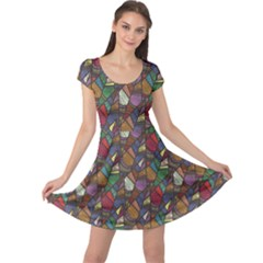 Colorful Pattern Abstract Feathers Cap Sleeve Dress by CoolDesigns