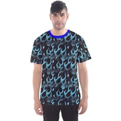 Blue Hot Blue Flames Pattern Men s Sport Mesh Tee by CoolDesigns