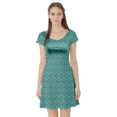 Green Bicycle Pattern On A Colored Short Sleeve Skater Dress by CoolDesigns