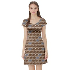 Brown Old Book Pattern Brown And Grey Books Short Sleeve Skater Dress by CoolDesigns