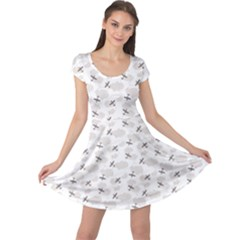 Gray Pattern Airplanes In The Clouds Cap Sleeve Dress