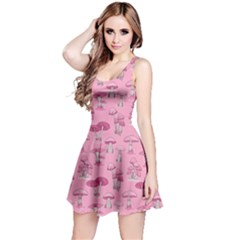 Pink Mushroom Pattern Sleeveless Dress by CoolDesigns