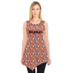 Red Cartoon Bull Terrier Pattern Sleeveless Tunic Top by CoolDesigns