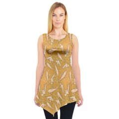 Yellow With Stylized Sharks Stylish Design Sleeveless Tunic Top by CoolDesigns