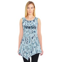 Blue Pattern With Music Notes Sleeveless Tunic Top by CoolDesigns