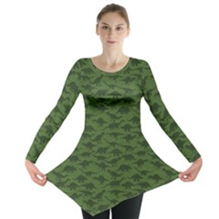 Green A Pattern With Dinosaur Silhouettes Long Sleeve Tunic Top by CoolDesigns
