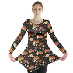 Colorful Halloween Cartoon Bright Long Sleeve Tunic Top by CoolDesigns