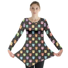 Black Pattern With Colorful Owls On Dark Long Sleeve Tunic Top by CoolDesigns