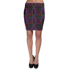 Black Neon Rainbow Colorful Laser With Random Beams Bodycon Skirt