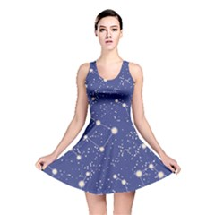 Blue Pattern With Constellations Of Southern Hemisphere Reversible Skater Dress by CoolDesigns