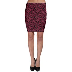 Black Red Skulls Pattern Geometric Contemporary Style Repeating Bodycon Skirt by CoolDesigns