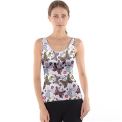 Colorful Floral Pattern With Colorful Butterflies And Gray Drops Tank Top by CoolDesigns