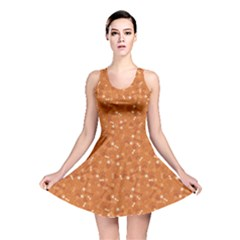 Orange Pattern With Dog Paw Print Bone And Hearts Orange Reversible Skater Dress