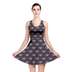 Black Bat Tile Halloween Pattern Reversible Skater Dress