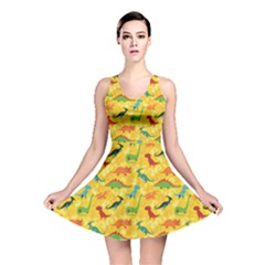 Yellow Cartoon Dinosaur Pattern Reversible Skater Dress