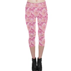 Pink Pink Modern Colorful Floral Pattern Resembling Capri Leggings by CoolDesigns