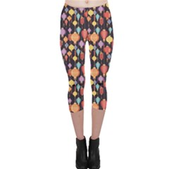 Colorful New Pattern Of Colorful Chinese Lanterns On A Dark Capri Leggings