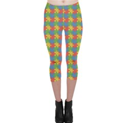 Green Puzzles Color Pattern Capri Leggings by CoolDesigns