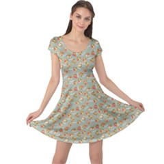 Brown Retro Pattern With Detailed Slices Of Pizza Cap Sleeve Dress