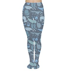 Blue Cute Doodle Blue Whales Marine Seamless Women s Tights by CoolDesigns