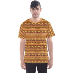 Orange Geometric African Ethnic Men s Sport Mesh Tee