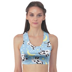 Blue Moo Cows At Night Pattern Women s Sport Bra by CoolDesigns
