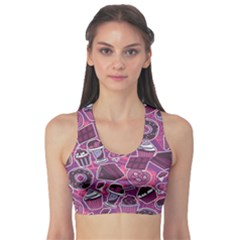 Purple Pattern With Sweet Food Cakes Chocolate Icecream Women s Sport Bra by CoolDesigns