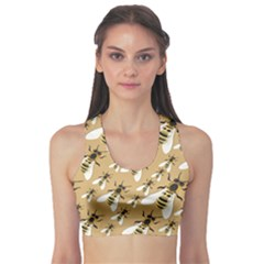 Yellow Bee Swarm Pattern Women s Sport Bra by CoolDesigns