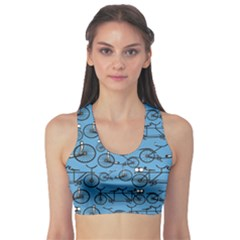 Blue Pattern Retro Bicycle Women s Sport Bra by CoolDesigns