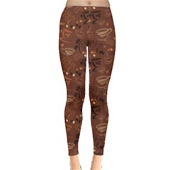 Brown Pattern With Coffee Cups Beans Croissant Calligraphic Women s Leggings
