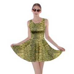 Green Leather Animal Snake Reptile Crocodile Pattern Skater Dress by CoolDesigns