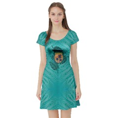 Aqua Hawaii Short Sleeve Skater Dress by CoolDesigns